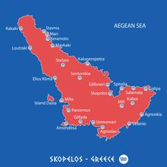 island of skopelos in greece red map illustration