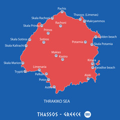 island of thassos in greece red map illustration
