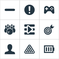 Vector Illustration Set Of Simple Leisure Icons. Elements Board, Profile Picture, Podcast And Other Synonyms Avatar, Exclamation And Minus.