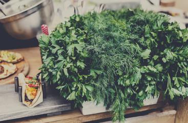 Organic farmers food market, fresh greenery