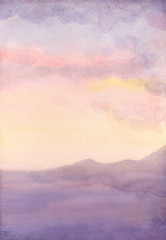 Watercolor seascape. Sunset