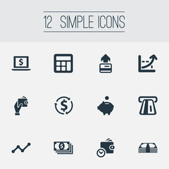 Vector Illustration Set Of Simple Money Icons. Elements Analytics, Laptop, Revenue And Other Synonyms Increase, Greenback And Laptop.