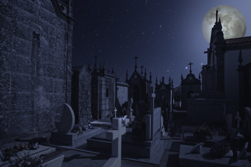 Old european cemetery at night