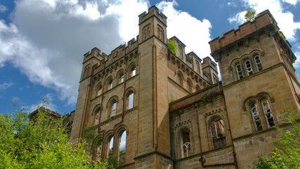 A creepy old derelict asylum building