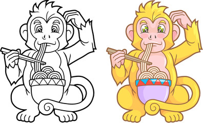 Cartoon funny monkey eating noodles