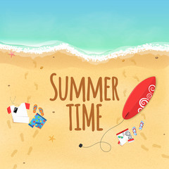 Summer time. Clothes on the beach. Sand grains. Waves from the sea. Surfboard. Footprints from the feet on the sand. Rest on the beach. Text on the sand. Cover for the project. Vector illustration
