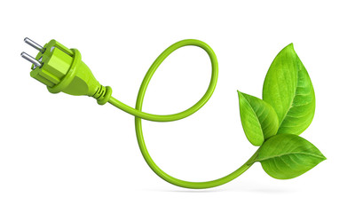 e-shaped green power plug with leaves