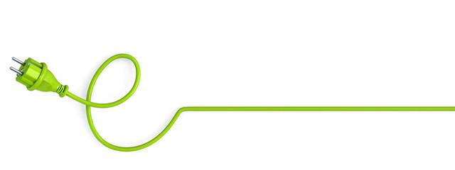 e-shaped green power plug