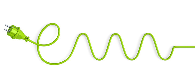 Green power plug bent in a electric waves shape