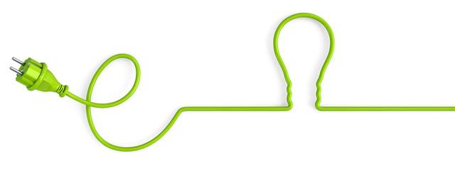 Green power plug bent in a light bulb shape