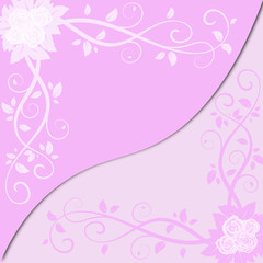 Vector card with colorful pink flowers isolated by layers