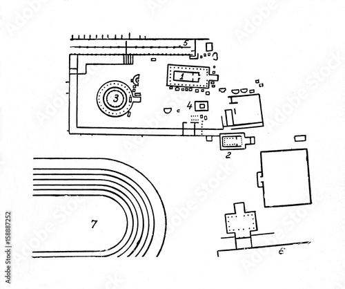 Site Plan Of Sanctuary Of Asklepios Epidaurus Greece Stock Photo