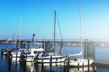 View of Beautiful White Yachts. Daylight. Horizontal. Sea Background.