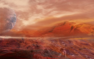 Fotobehang Baksteen Fantastic martian landscape . Planet Mars .Elements of this image furnished by NASA .
