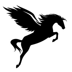 jumping pegasus - winged horse black vector design