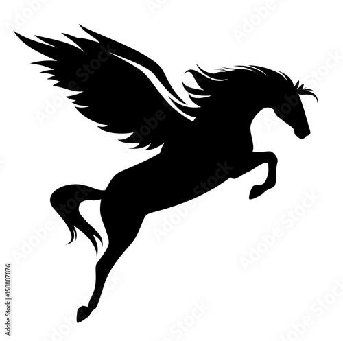 """jumping pegasus - winged horse black vector design"" Stock ..."