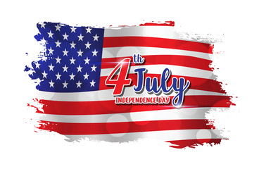 4th of July text design on abstract American Flag style background for Independence Day celebration