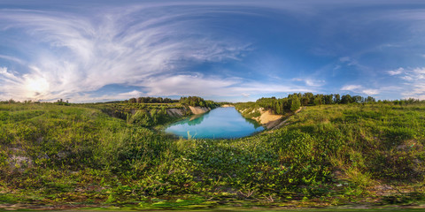full 360 degree seamless panorama in equirectangular spherical equidistant projection. Panorama near beautiful blue lake at sunset. Background for virtual reality content