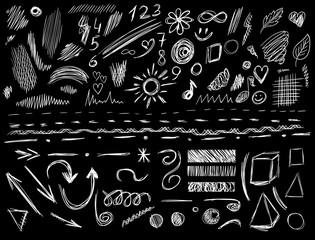 Big set of 105 hand-sketched design elements, VECTOR illustration isolated on black. White scribble lines.