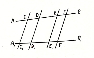 Two straight lines, crossed by parallel lines, are divided pro rata