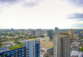 city of bangkok and blue sky with clouds in the evening