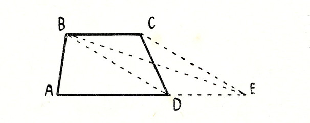 Measuring area of a trapezium ABCD by turning it to triangle ABE
