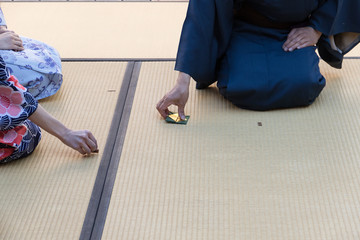 Beginning of the Japanese green tea ceremony on tatami mat