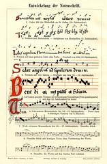 Development of musical notation (from Meyers Lexikon, 1896, 13/36/37)