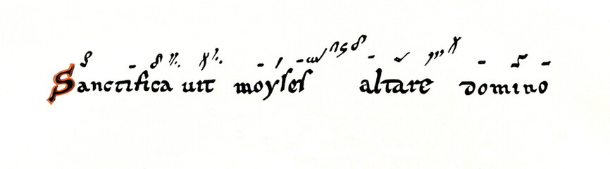 Neumatic notation from 10th century, Abbey of Saint Gall (from Meyers Lexikon, 1896, 13/36/37)