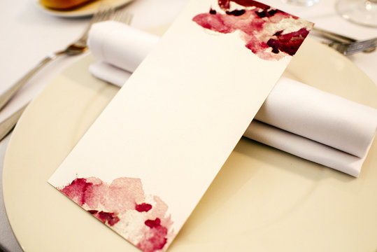 Greeting card on table