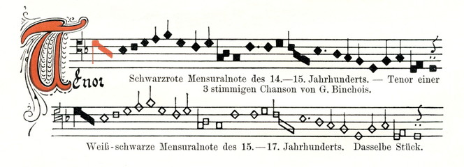 Structural tenor from three voice Burgundian chanson by Gilles Binchois (ca. 1400-1460) in mensural notation -  14-15th century (above) and 15-17th century (from Meyers Lexikon, 1896, 13/36/37)