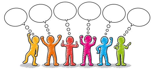 Set: Gruppe motivierter und erfolgreicher Business-Strichmännchen mit Sprechblasen / farbig, bunt, Zeichnung, gezeichnet, handgezeichnet, schraffiert, Design, Vektor, freigestellt