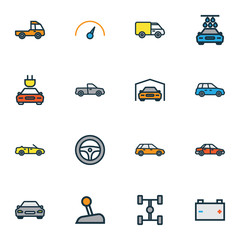 Automobile Colorful Outline Icons Set. Collection Of Sport, Electric, Sedan And Other Elements. Also Includes Symbols Such As Wheel, Station, Rudder.