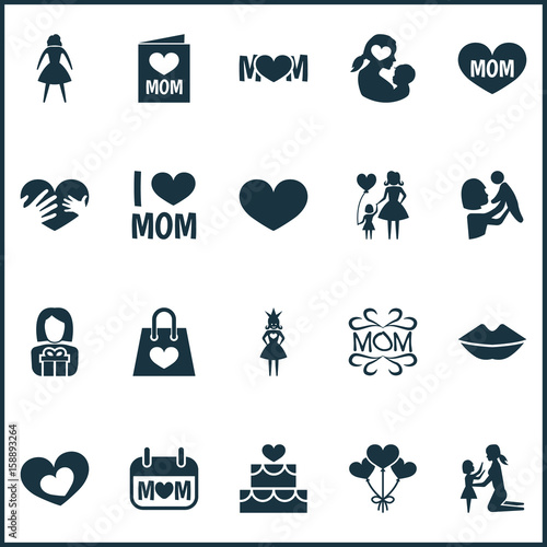 Mothers Day Icon Design Concept Set Of 20 Such Elements As Gift To