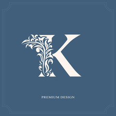 Elegant letter K. Graceful royal style. Calligraphic beautiful logo. Vintage drawn emblem for book design, brand name, business card, Restaurant, Boutique, Hotel. Vector illustration