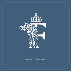 Elegant letter F with a crown. Graceful royal style. Calligraphic beautiful logo. Vintage drawn emblem for book design, brand name, business card, Restaurant, Boutique, Hotel. Vector illustration