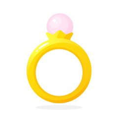 Vector illustration in flat style. Gold ring with pearl. Decoration for greeting cards, prints for clothes, infographics