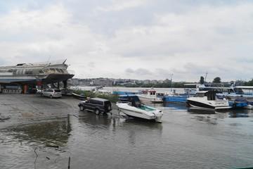 Boat on a trailer in a shipyard