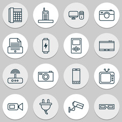 Gadget Icons Set. Collection Of Call, Television, Spectacles And Other Elements. Also Includes Symbols Such As Telephone, Mp3, Player.