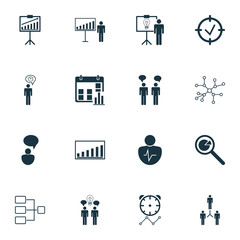 Administration Icons Set. Collection Of Approved Target, Co-Working, System Structure And Other Elements. Also Includes Symbols Such As Presentation, Deadline, Solution.