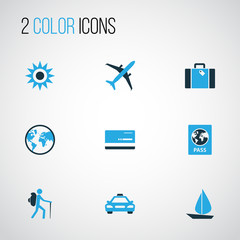 Exploration Colorful Icons Set. Collection Of Sail, Tourist, Taxi And Other Elements. Also Includes Symbols Such As Aircraft, Boat, Summer.