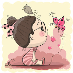 Cute Cartoon Girl with bird and butterfly