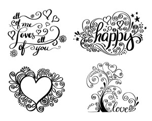 Hand lettering set for love card.