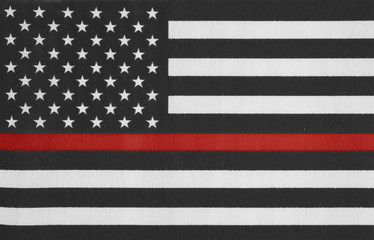 United States of America thin red line flag
