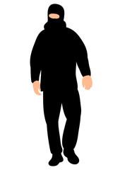 Vector silhouette male terrorist