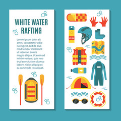 Modern colourful vertical flyer for rafting club or sport team