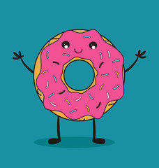 Delicious donut comic character. Kawaii donut. Vector stock.
