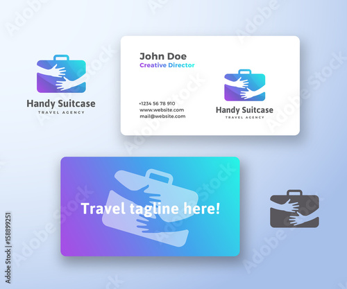 Handy Suitcase Travel Agency Abstract Vector Sign Symbol Or Logo