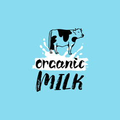 Vector hand drawn milk label. Sign for dairy produce. Tag and element for products packaging, cartons, advertising etc.
