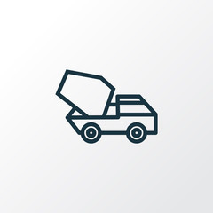 Cement Vehicle Outline Symbol. Premium Quality Isolated Concrete Mixer Element In Trendy Style.